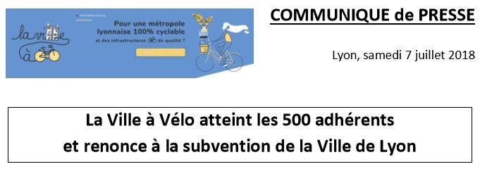 La Ville à Vélo atteint les 500 adhérents et renonce à la subvention de la Ville