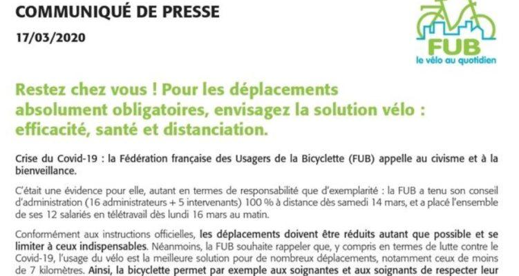 Covid-19 : Restez chez vous ! Mais pour les déplacements absolument obligatoires, pensez à la solution vélo : efficacité, santé et distanciation.