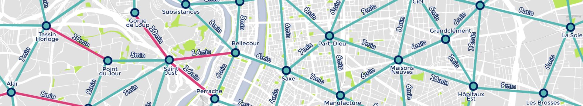 Carte des temps de trajet : le vélo est le mode le plus rapide pour circuler au sein de la métropole