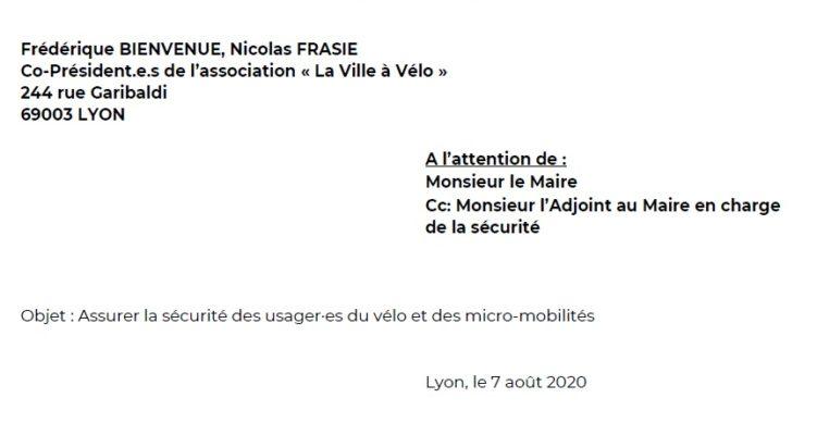 Lettre à Monsieur le Maire de Lyon : Assurer la sécurité des usager·es du vélo et des micro-mobilités