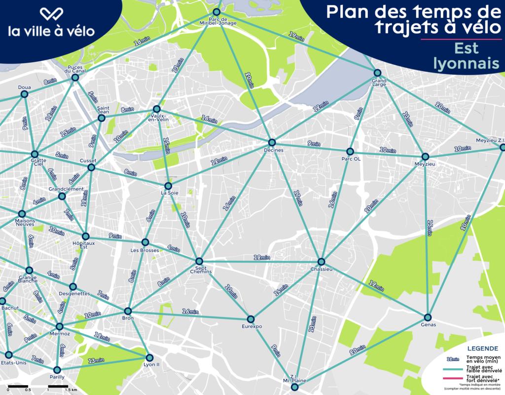 Temps de trajet dans l'Est Lyonnais