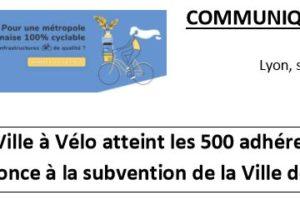 [Communiqué de presse] La Ville à Vélo atteint les 500 adhérents et renonce à la subvention de la Ville