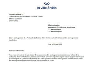 Lettre à Monsieur le Président de la Métropole: Aménagement du «Pont de la Guillotière – Rive Droite»
